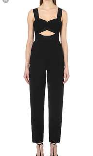 Self- Portrait / Lulu Cut-Out Crepe Jumpsuit in Black