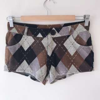 *AS NEW* Argyle Patterned shortie shorts size S