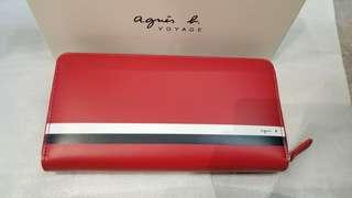 全新agnes b長銀包,紅色$1550