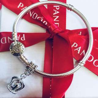 Pandora Dangling Crown Charm Pendant Fitted to Necklace and Bangle Italy White Gold