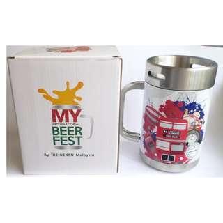 "HEINEKEN BEER Pewter Stein Mug Keg ENGLAND Oktoberfest 2016 Malaysia 5.75"" RARE"