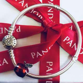 Pandora Snow White's Apple Charm Pendant Fitted to Necklace and Bangle Italy Gold
