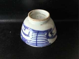 聽雨樓:【清】青花釣魚山水茶杯一隻(#3)