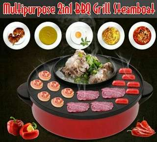 Multipurpose 2in1 BBQ Grill Steamboat  ready stok