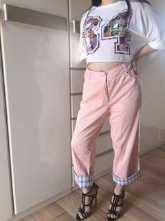 Auth Burberry pink trousers