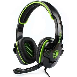 🚚 1152. SADES SA708 Wired Gaming Headset Headphones with Microphone(Green)