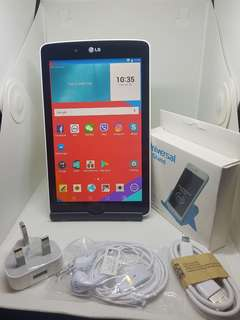 UNIT:*LG TaBLET* Wifi only  Condition:Second                       Hand SPECs: 8 GB  7 inches 1 gb RAM Android 5.0.2 Warranty 1 year for battery& network With headset & charger Available color:*white & Black*   *Free tablet stand* *PRICE*   399 Hkd