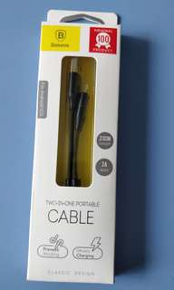 BNIB Baseus lightning and micro USB 2-in-1 23cm cable