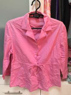 Unica Hija pink button down with ribbon