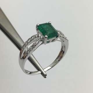 18K白金戒指 93份綠寶 23份鑽石 18K Withe gold Ring 0.93ct Emerald 0.23ct Diamond 可議價