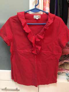 Petit Monde red frilled top