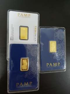 5 Gram Gold Bar PAMP Suisse Lady Fortuna Veriscan 999.9 Fine Gold (In Assay)