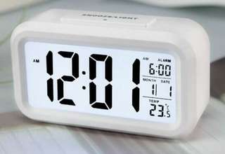 Silent Digital Alarm Clock with Time Temperature Display Night Light