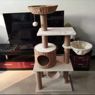 Rattan Cat condos Paradise banana leaf cat trees furniture -in Furniture & Scratching Toys for Cats