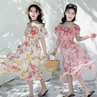 💥中大童裝-預購H028美《夏季韓版女童 雪紡收腰長裙洋裝沙灘裙》