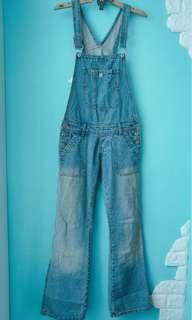 合身版單寧吊帶喇叭褲 size-m /vintage/古著