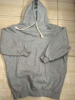 Jacket Sweater abu polos ada hoddie