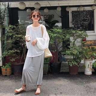 Minimei追加款✪韓系韓版歐美風百搭休閒超方便 修身純色中長款背心裙+套頭圓領長袖防曬罩衫薄女套裝(2件套)