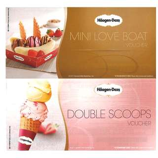 Haagen-Dazs 雪糕券 (double scoop + mini love boat voucher) (雙球 + 愛情號)