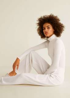 MNG Casual Off White Mock-Turtleneck Longsleeved Top