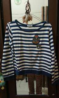 Kaos stripe navy sailor