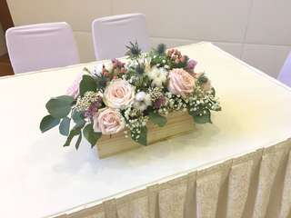 Table Centerpiece in Pink Roses Cotton Flower Rustic Fillers / Wedding Table Deco / ROM Table Deco