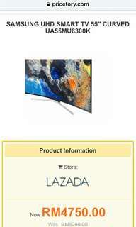 Samsung uhd curve smart tv 55inch