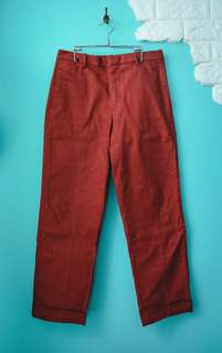 UNIQLO x Lemaire 橘紅色中腰直筒褲(厚磅)