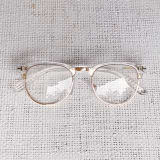 Clear Acetate Eyeglasses with Gold Tone Metal Detail