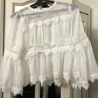 NASTYGAL White Laced Top