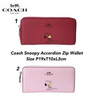 Coach Snoopy Accordion Zip Wallet