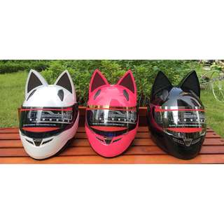 Cat ears Nitrinos Anime ventilated vent full cosplay cute face helmet yellow black pink white