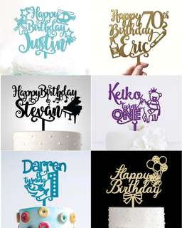 Personalized Birthday Acrylic Cake Topper