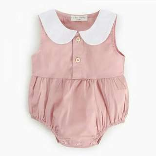 Comfy SolidPeter Pan Collar Sleeveless Bodysuitfor Baby Girl.