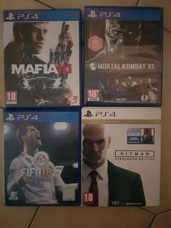 Fifa 18. Mortal Kombat XL. Mafia 3. HITMAN Steelbook. Used Games.
