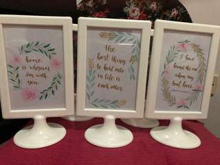 Wedding deco: White frames (with watercolour writings)