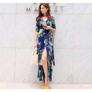 Premium Floral Wrap Maxi Dress