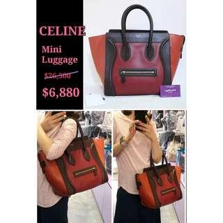 70% New CELINE 165213 Mini Luggage 紅色 牛皮 手提袋 肩背袋 手袋 Calfskin Handbag in Red
