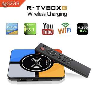 Latest TV Box R-TV S10+ Android 8.1 ( 4GB Ram + 32GB Rom kodi 18.0 4K TV Box Wireless Charger Wifi Lan HDR H.265 Compatible With iPhone X iphone 8/8 Plus & Galaxy Note 8 S8/S9/S9 Plus And All Qi-Enabled Devices