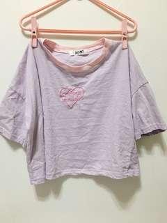 粉紫色短版上衣
