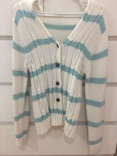 Blue and White Striped Knitwear