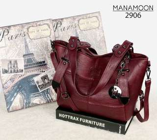 New Arrival Latest in Handbags MANAMOON Brianna Clemence Leather Hardware Black (2906)
