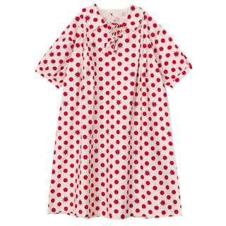 探險系列紅點瓢蟲中長款寬鬆連衣裙(翻領)