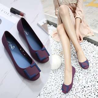 """👡 Square Head Jelly Flat Shoes"""" 2018 New"""