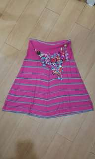 $325 CHRISTIAN LACROIX Embroidered Sequined Beaded Knit Midi Skirt
