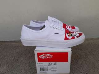 READY STOCK  PREMIUM BNIB  MADE IN CHINA  WAFFLE ICC VANS AUTHENTIC (SUPREME) WHITE/RED SIZE 40/41/42/43/44