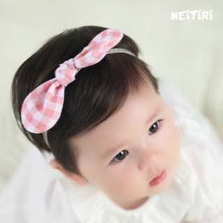 🚚 🌟INSTOCK🌟 Pink Gingham Bow Ribbon Headband Newborn Baby Bandana Kids Girl Party Hair Accessories