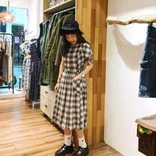 oreo shake 古著 vintage 黑色格紋洋裝