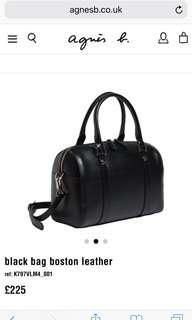 Agnes b 黑色 波士頓包 手袋 購自日本