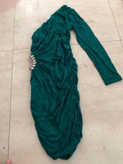 Green One Shoulder Dress